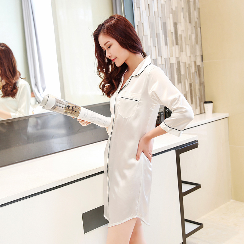 Size M-XXL Sleep Lounge Nightgowns & Sleepshirt Sleepwear BF Style Night Dress Nightwear Women Sexy Lingerie Indoor Dress