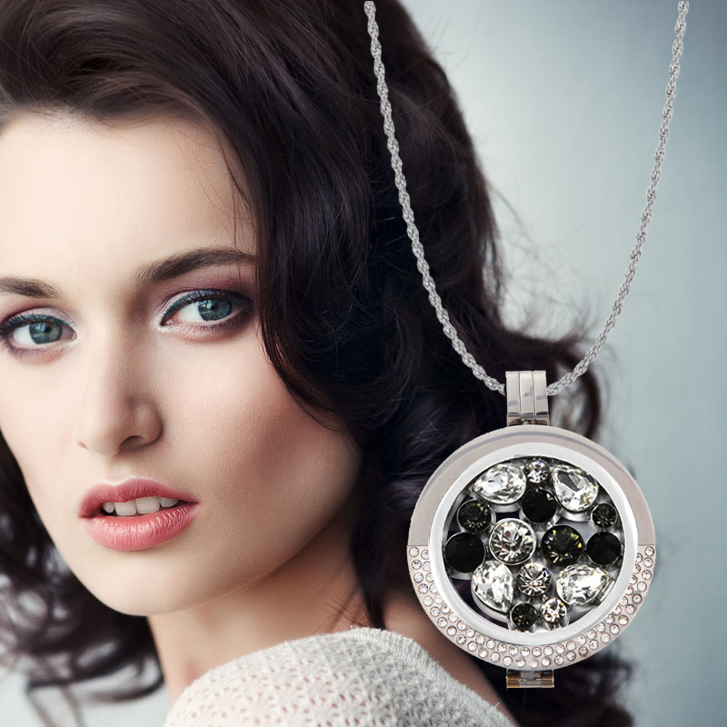 Vinnie Design Jewelry Open Structure Large Pendant Necklace with 33mm Crystal Coin Disc,35mm Coin Holder,80cm Soprano Chain