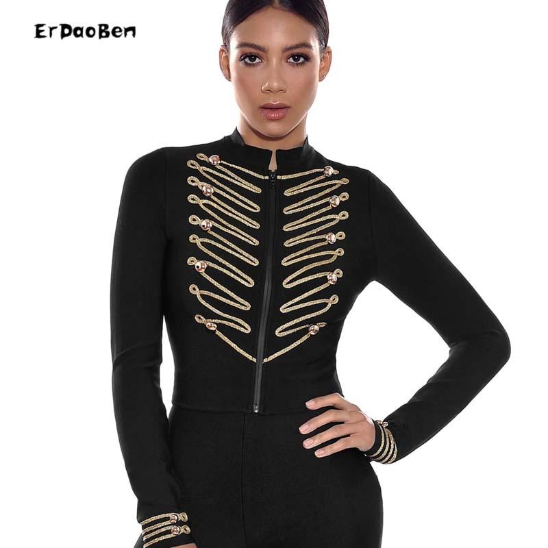 Nouveau Manteau Erdaoben H5702 Dame Pleine Bouton Parti Printemps Luxe Célébrité De Manches Zipper Piste Femmes Slim Sexy 2018 Bandage F1cKJl