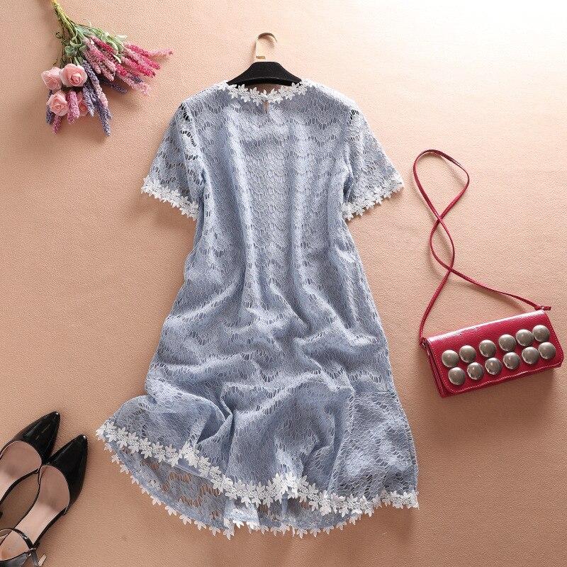Haute qualité évider dentelle robe femmes été blanc bleu clair O cou à manches courtes Sexy robe de plage femme grande taille Vestidos - 3