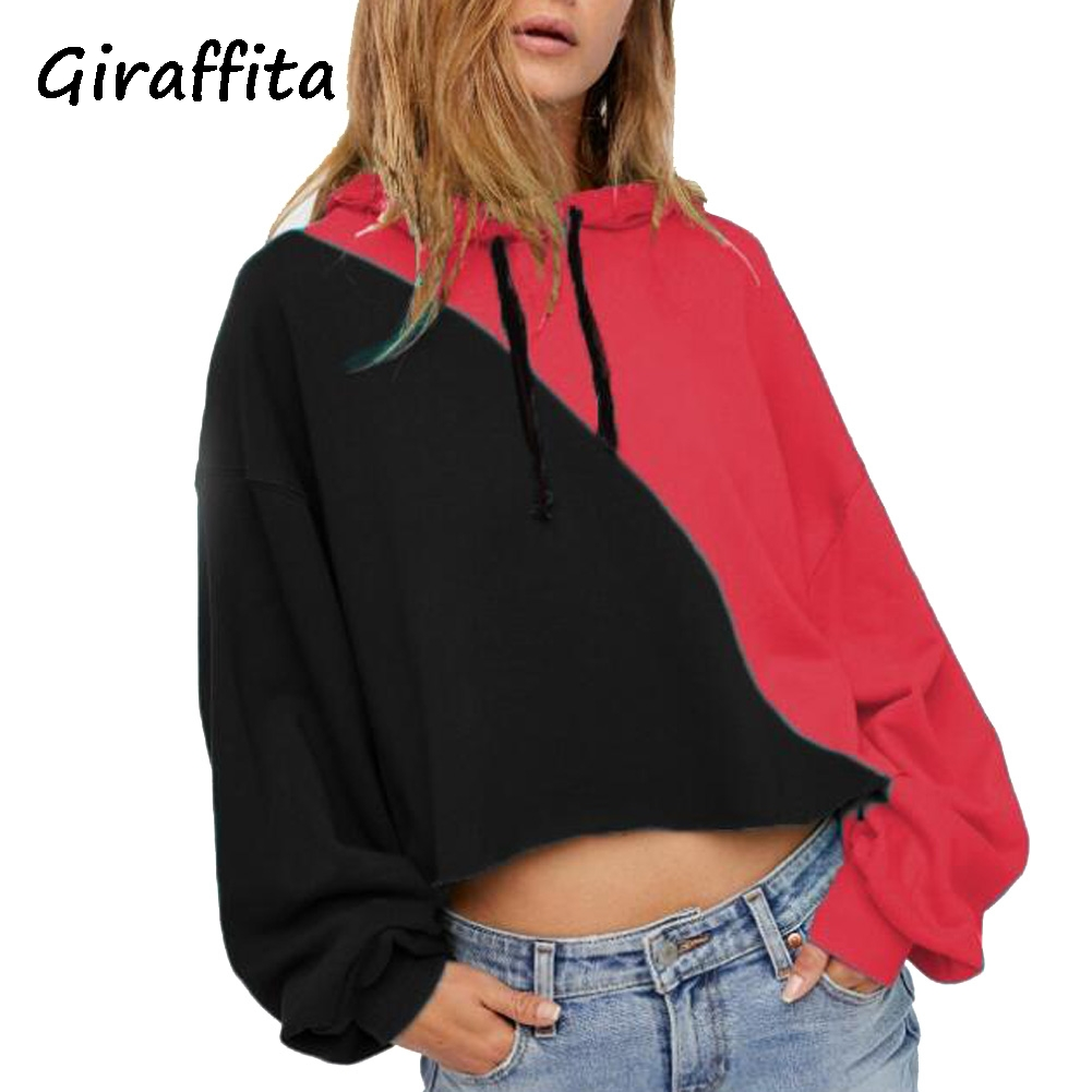 Giraffita Summer fashion home womens casual long hooded Pullover stripe hoodies pullover shirt blouse stitching women clothes