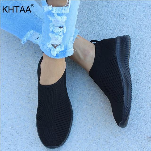 KHTAA נשים אוויר Mesh סניקרס סתיו דירות נעל למתוח סרוג אביב לנשימה מזדמן גרב לגפר נעלי נשי בתוספת גודל