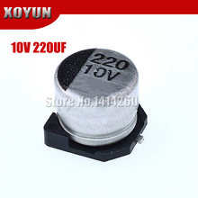 10 pçs/lote 10V220UF capacitor Eletrolítico 6.3*5.4 milímetros SMD capacitor eletrolítico de alumínio 220uf 10v