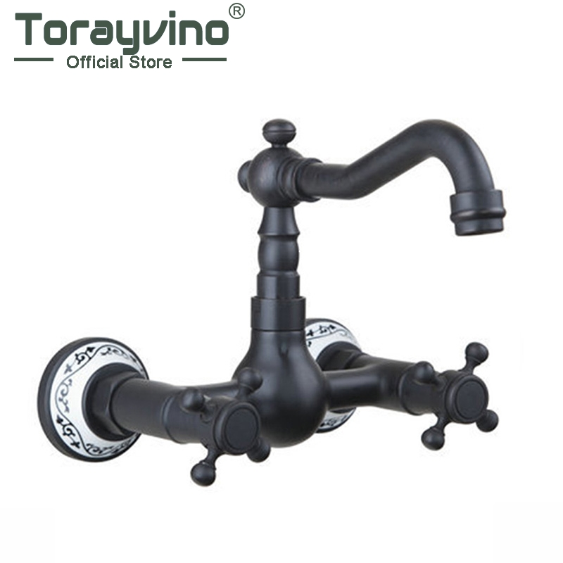 Torayvino Swivel Spout Vessel Vanity Bathtub Torneira Wall Mounted Oil Rubbed Black Bronze Bathroom Basin Sink Tap Mixer Faucet