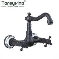 Torayvino Swivel Spout Vessel Vanity Bathtub Torneira Wall Mounted Oil Rubbed Black Bronze Bathroom Basin Sink