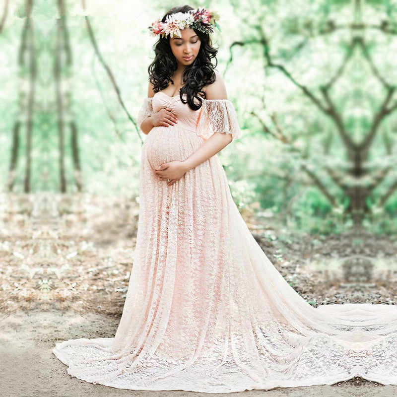 6842ae567dd CHCDMP New Elegant Lace Maternity Dress Photography Props Long Dresses  Pregnant Women Clothes Fancy Pregnancy Photo