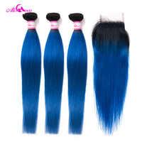 Ali Coco 3/4 Bundels En Sluiting 1B/Blauw Braziliaanse Steil Haar Met Sluiting 10-28 Inch gratis Verzending Remy Human Hair Extensions