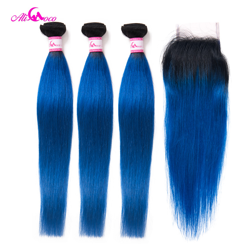 Ali Coco 3/4Bundles And Closure 1B/Blue Brazilian Straight Hair With Closure 10 28 Inch Free Shipping Remy Human Hair Extensions-in 3/4 Bundles with Closure from Hair Extensions & Wigs    1