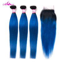 Ali Coco 3/4Bundles And Closure 1B/Blue Brazilian Straight Hair With Closure 10 28 Inch Free Shipping Remy Human Hair Extensions
