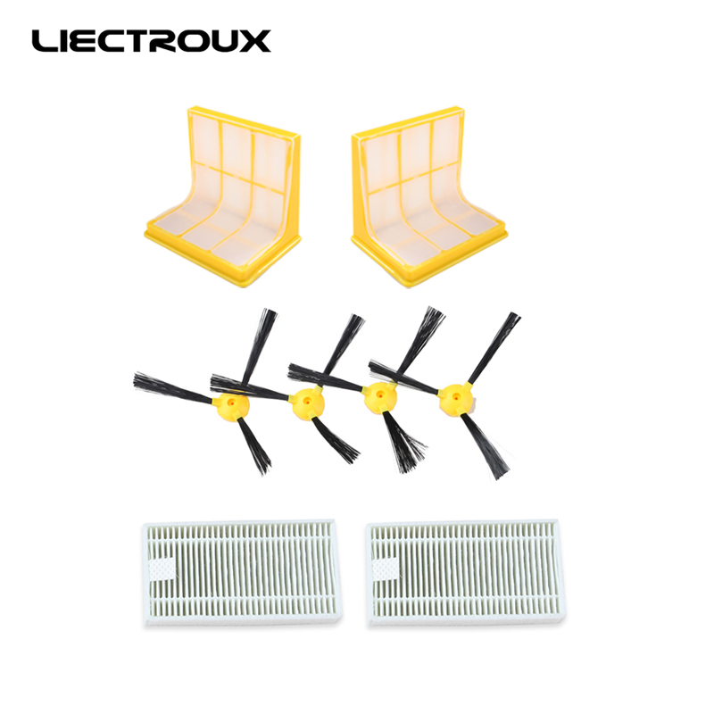(for B6009)LIECTROUX Spare part for Robot Vacuum Cleaner, Including side brush*4pcs+3D hepa filters*2pcs+HEPA filter*2pcs motor hepa filter for bosch siemens bsgl3126gb bsgl312gb vacuum clear spare part replacement vacuum cleaner accessories parts