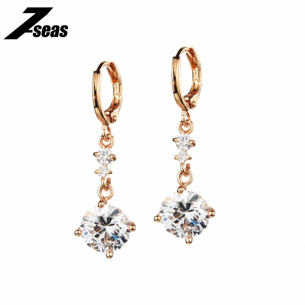 7SEAS New Arrival Fashion Womans Dangle Earrings Gold Color Cubic Zirconia Earring Vintage Wedding Women Jewelry Gift,JM665E