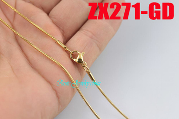 """golden color 16""""-28"""" 1.2mm round snake chain stainless steel necklace fashion women jewelry chains 20pcs ZX271-GD"""