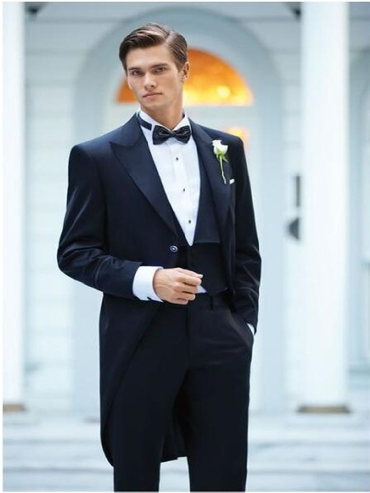 New Black Men Morning Suit Tailcoats Long Jacket Groom Wedding Best Man Party Tuxedos