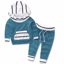Baby Girls Boys Long Sleeve Casaul T Shirts Hoodies Tops Long Pants Sets Toddler Infant Kids Striped Trousers Clothing Sets 0-2T