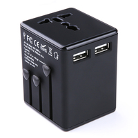 New All In One Universal International Plug Adapter 2 USB Port World Travel AC Power Charger
