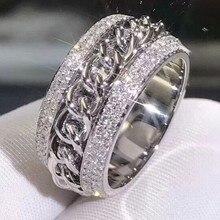 Funkelnden Neuen Ankunft Luxus Schmuck 925 Sterling Silber Atemberaubende 5A Klar Weißen Zirkonia CZ Frauen Hochzeit Drehbare China Ring