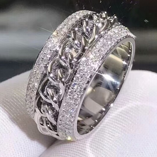 Sparkling New Arrival Luxury Jewelry 925 Sterling Silver Stunning 5A Clear White Zirconia  CZ Women Wedding Rotatable China Ring
