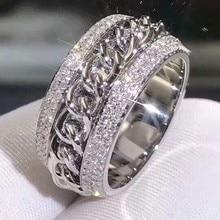 Sparkling New Arrival luksusowa biżuteria 925 srebro oszałamiająca 5A jasny biały cyrkon CZ kobiety ślub obrotowy pierścień chiny