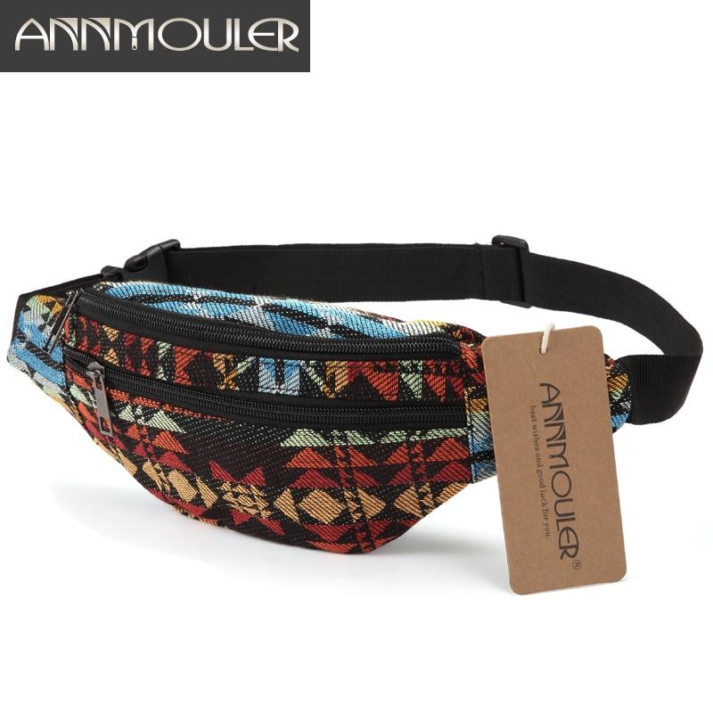 Annmouler New Women Fanny Pack 8 Colors Fabric Waist Packs Bohemian Style Waist Bag 2 Pocket Waist Belt Bag Travel Phone Pouch