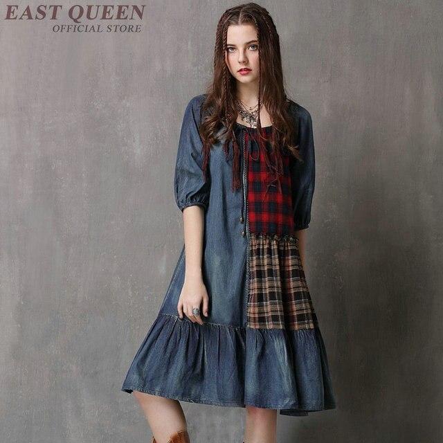 3bea140e53d Gothic dress clothing medieval costume woman modern renaissance denim  tartan clothing dress KK2154 Y