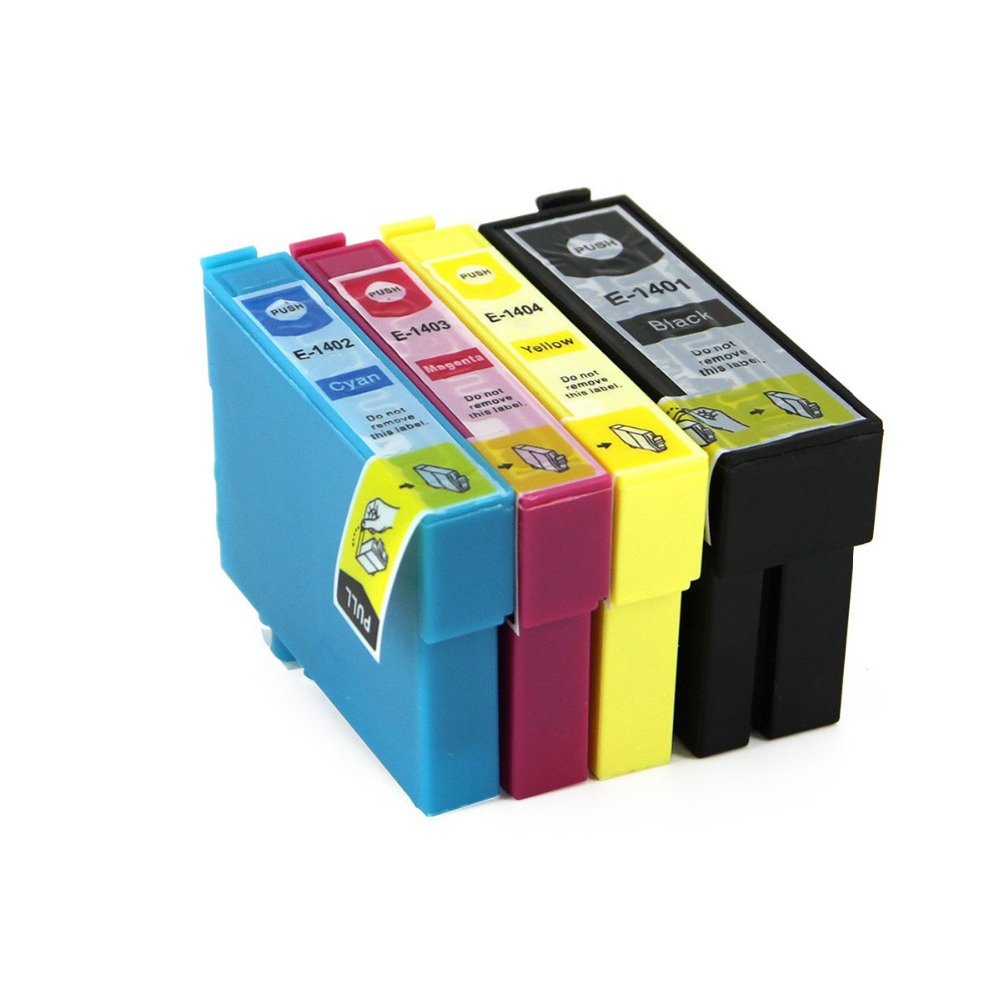 Full Ink 4 PCS Ink Cartridge T1401 T1402 T1403 T1404 for Epson Workforce 60 545 625 630 633 840 WF-3520 3530 3540 7010 With Chip