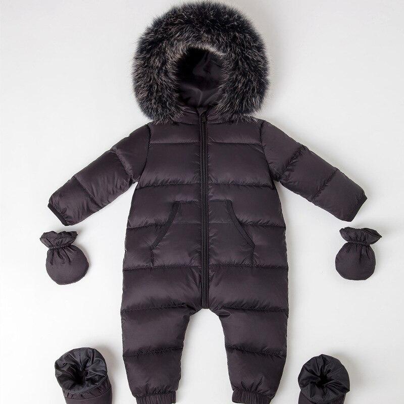 0-4 ans imperméable nouveau-né bébé Snowsuit réel renard fourrure hiver vêtements vers le bas barboteuse canard vers le bas remplissage épais chaud infantile combinaison