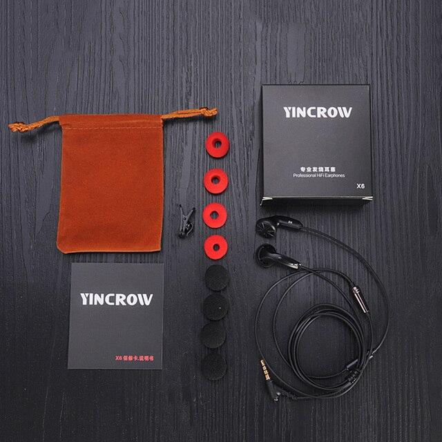 Plus récent YINCROW X6 dans loreille écouteurs 3.5mm tête plate Bio cellulose écouteurs HiFi professionnel écouteurs sans micro pour iphone