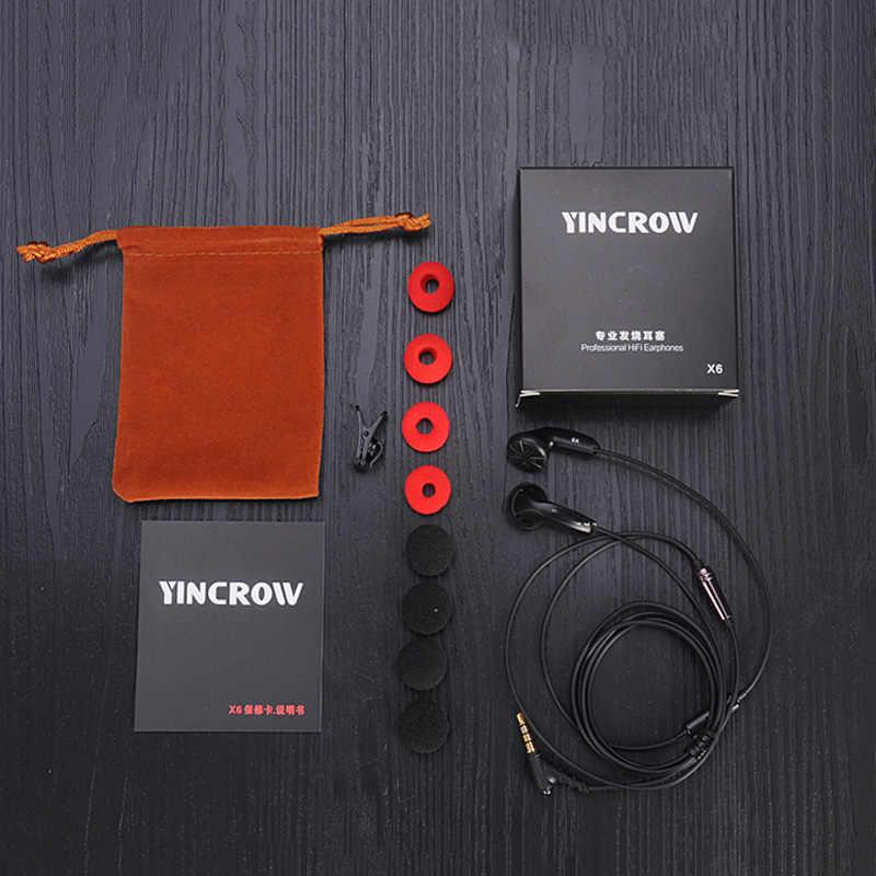 YINCROW X6 słuchawki douszne 3.5mm z łbem płaskim Bio celulozy słuchawki douszne HiFi profesjonalne słuchawki bez mikrofonu dla iphone