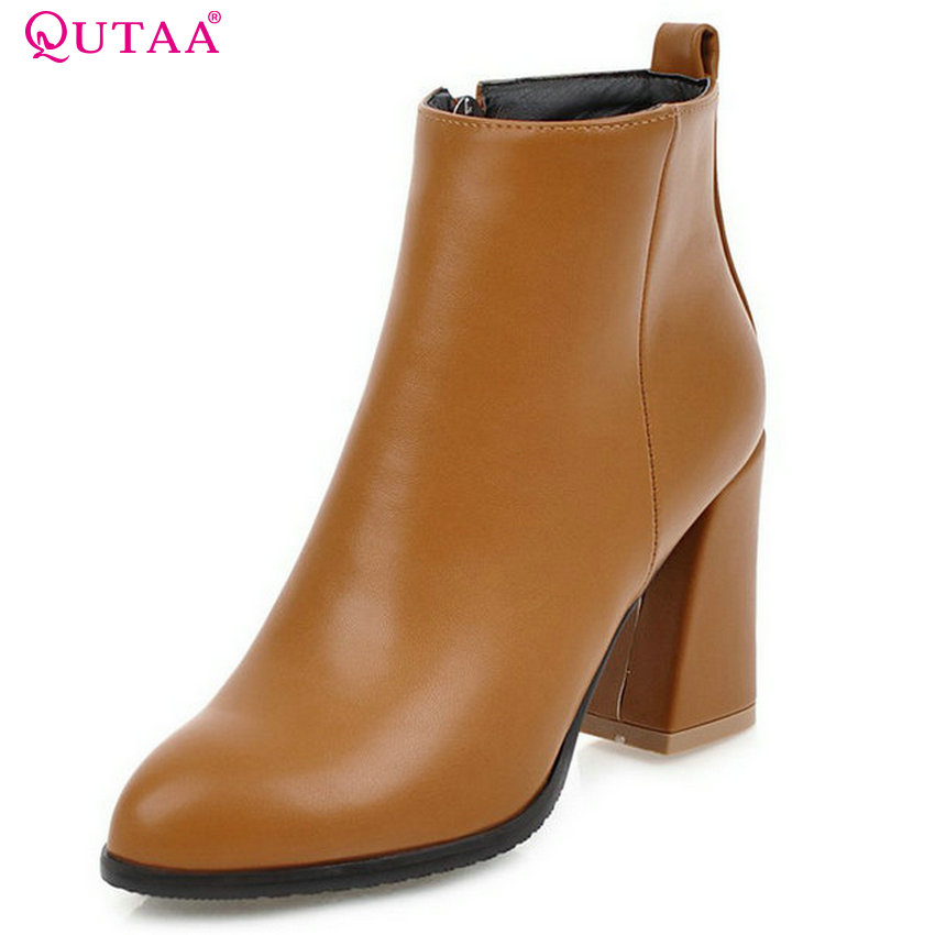 QUTAA 2018 Women Ankle Boots Fashion Square High Heel Pointed Toe Zipper Westrn Style All Match Women Basic Boots Size 33-43 qutaa 2018 women ankle boots square high heel pointed toe zipper all match women shoes ladies motorcycle boots size 34 43