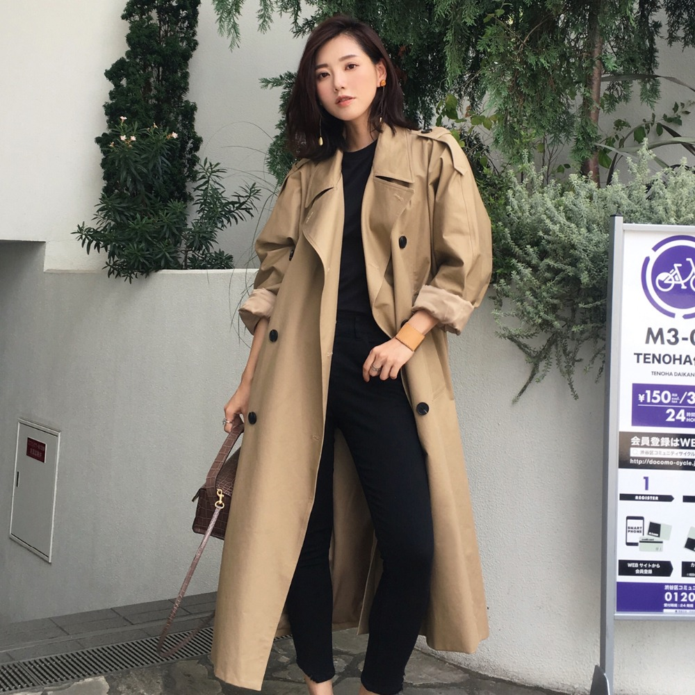 Spring Autumn Fashion High Quality Army Green Khaki   Trench   Coat Casual Women's Long Outerwear Loose Clothes for Lady with Belt
