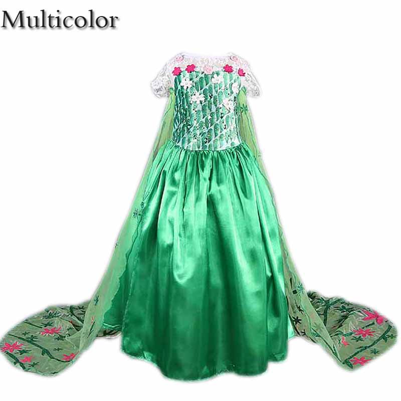 Promotions Custom Anna Elsa Girls Princess Dress Kids Party Vestidos Baby Children Cosplay Dresses Wedding Pincess Long Dress autumn girls children s kids baby long sleeve lace mesh tutu patchwork basic dresses princess wedding party dress vestidos s5691