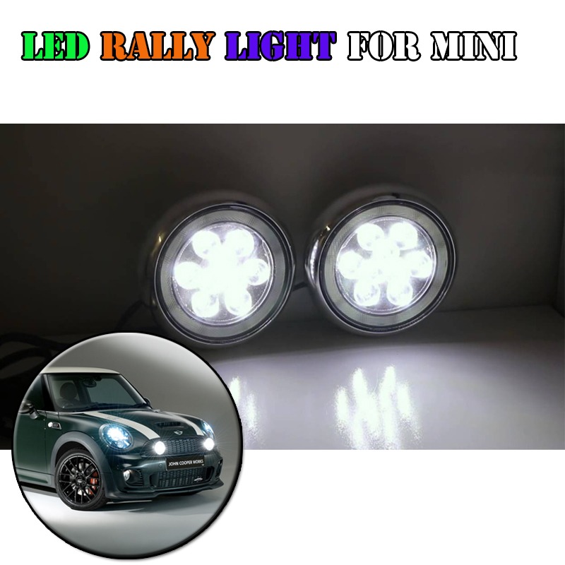 New Products Mini Cooper Led Rally Driving Light With Halo Ring Angel Eyes DRL Chrome Black Shell Daylight Kits For Bmw new led daytime running lights drl with halo ring angel eyes for mini cooper rally driving lights front bumper 6000k 1900lm auto