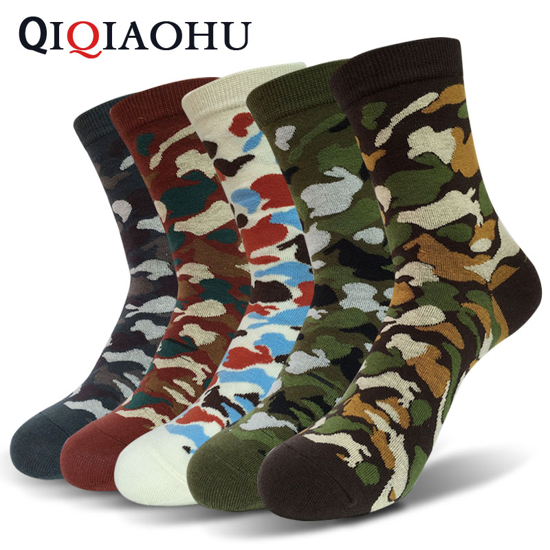 5 Pairs Quality Military Men Crew Socks Graffiti Army Green Sock Jungle Camouflage Socks Sporting 5pairs/lot Solider Cool Sokken