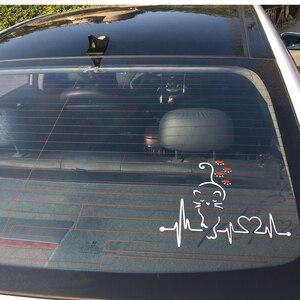 Image 3 - Bemost 車スタイリング素敵な猫ハートビート車の窓の装飾デカールファッション漫画のステッカー自動車の付属品 25*21 センチメートル