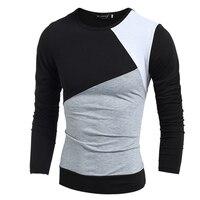 Fashion Men T Shirt Long Sleeve Casual Summer Autumn Style Tshirt Men Patchwork Fitness O Neck