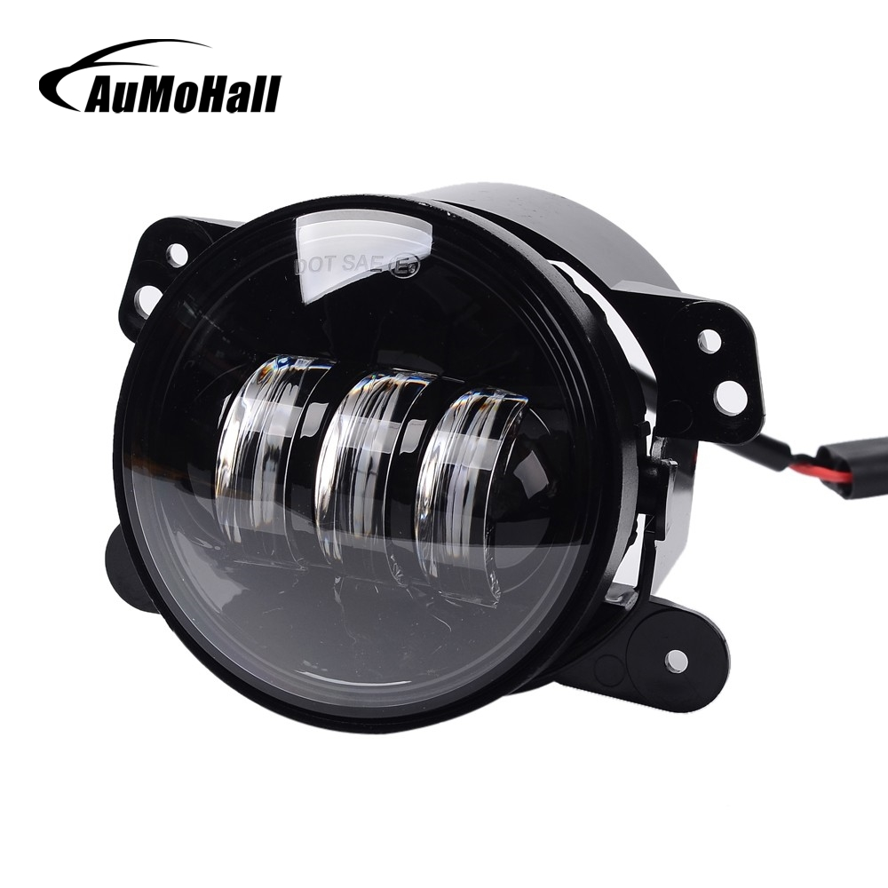 AuMoHall 4 inch Led Front Bumper Fog Light 30W Round Driving Lights for Exterior Light 4WD Fog Lamps pair 4 inch led fog light projector driving light for 10th anniversary front bumper of jeep wrangler jk 07 front bumper lights