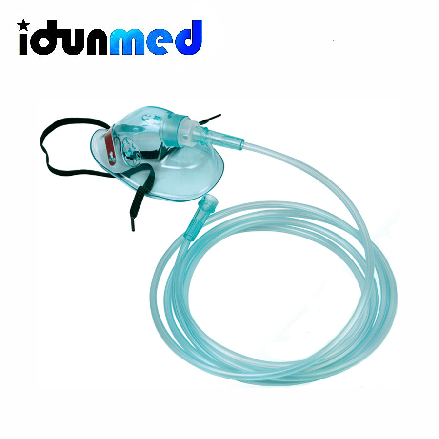 idunmed Oxygen Mask With Flexible Strap And Tubing Color Green  For Medical Home Use In Oxygen Concentrator Pack Of 2 Free Shipmedical  oxygen maskmask medicalmask mask