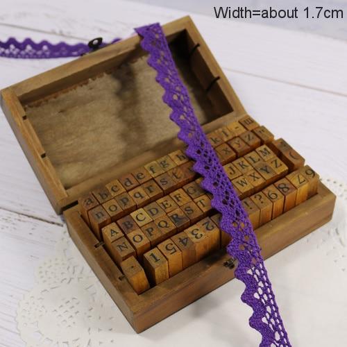 Zakka Стиль хлопковая кружевная лента швейная лента, бежевая Кружевная Сетка, крутая кружевная тесьма(17 мм x 50 ярдов - Цвет: Dark Purple