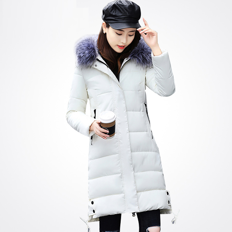 купить Winter Coat warm Cotton Down Jacket Long Hooded Female Overcoat Slim Solid Jackets Winter Faux Fur Collar Coats Parkas Padded дешево