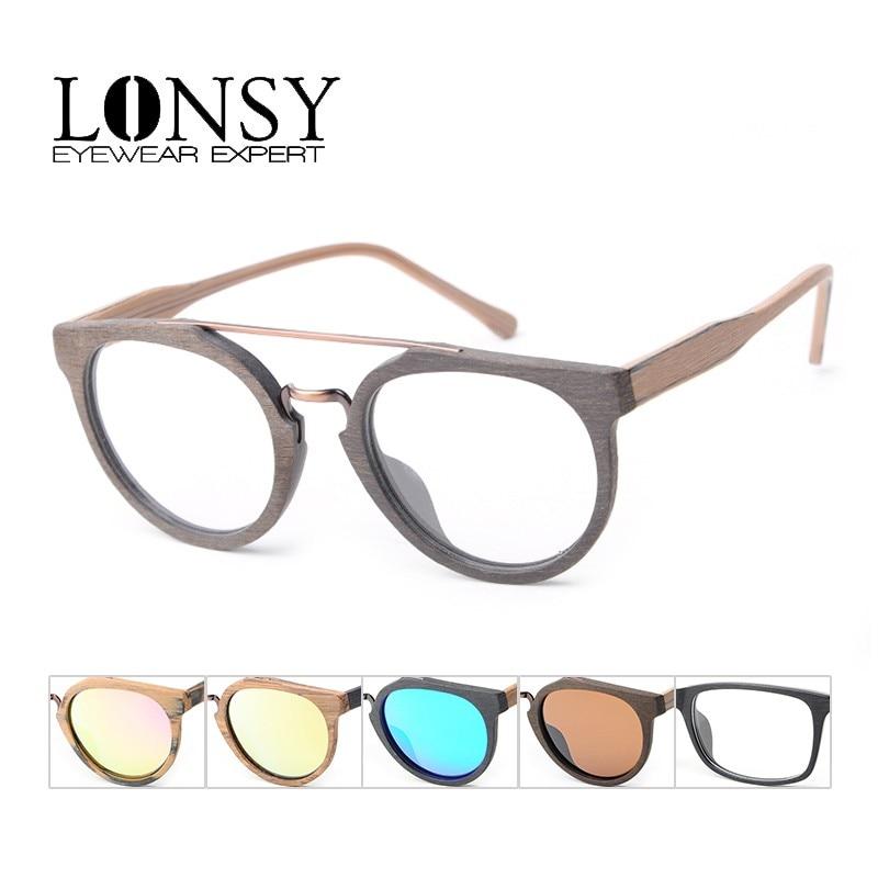 LONSY Fashion Acetate Wood Optical Glasses Frame Print Eyeglasses Frame Men Women Brand Designers Clear Lens Sunglasses