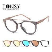 LONSY אופנה אצטט עץ אופטי משקפיים מסגרת הדפסת משקפיים מסגרת גברים נשים מותג מעצבי ברור עדשת משקפי שמש
