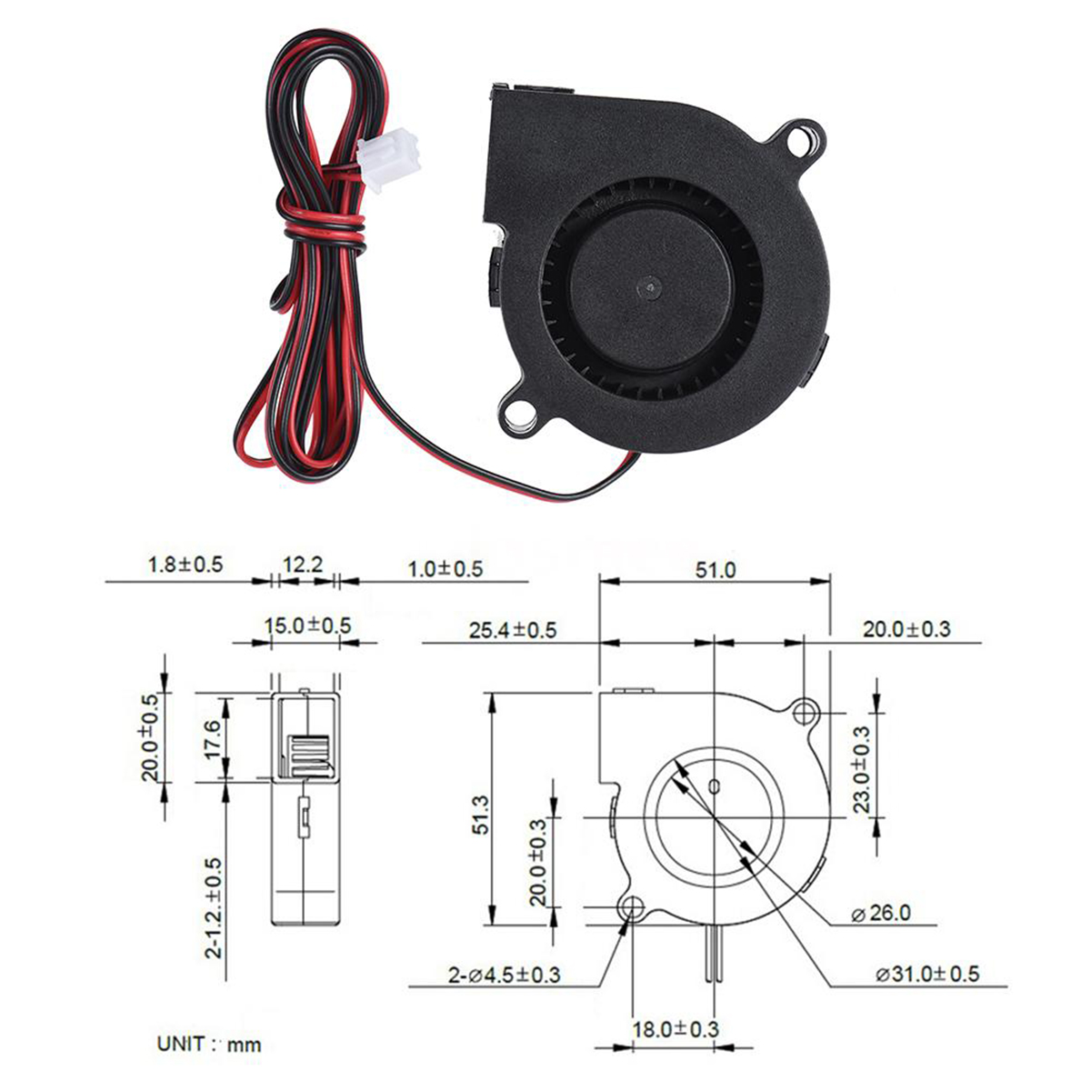 цены на 1pc DC Radial Cooling Fan 12V/24V Hot End Extruder Blow Fans 50*15mm Mayitr For 3D Printer Parts в интернет-магазинах