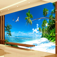 Custom 3D Mural Wallpaper Bedroom Sofa TV Backdrop Wall Papers Mural Painting Beach Coconut Grove Modern Home Decor Wallpaper free shipping custom modern 3d mural suspended ceiling top bedroom wallpaper sky backdrop