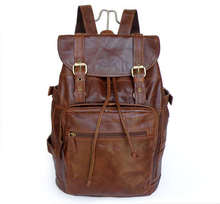 Vintage Genuine Leather Men Backpacks Large Laptop Bag Casual Daypack Cowhide Men's Travel Bags Solid Duffel Bag J6085