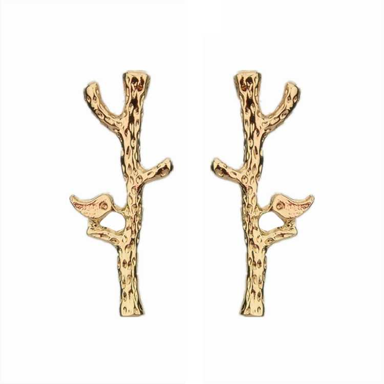 Hot Sale Simple Fashion Metal Tree Branch Bird Girl Earring Silver Gold Color Statement Stud Earrings for Women Jewelry Brincos