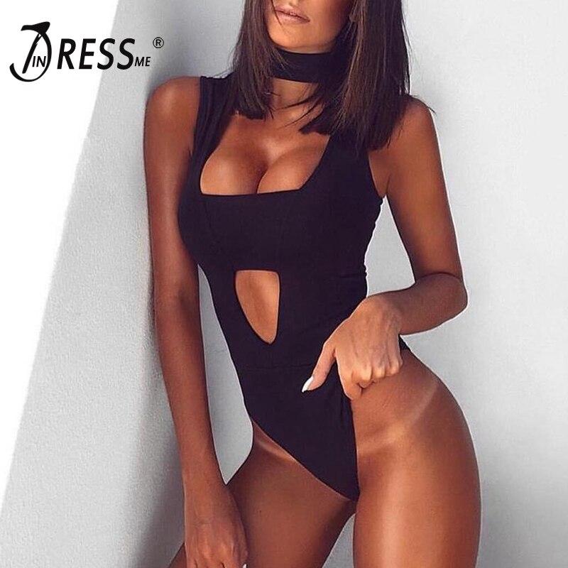 INDRESSME 2018 Sexy Women Halter   Jumpsuit   Tops Bodysuits Black White Hollow Out Leggings Rayon Women Bandage   Jumpsuit