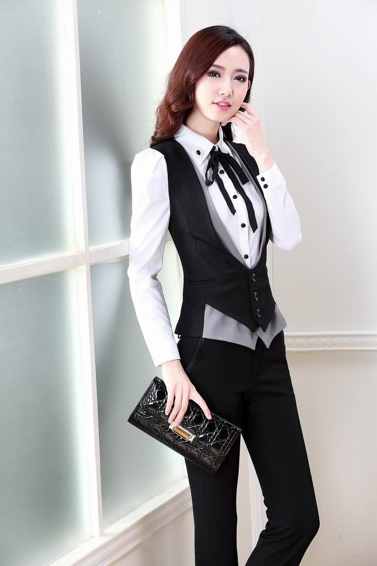 New-Plus-Size-2015-Spring-Autumn-Novelty-Grey-Office-Work-Wear-Women-s-Suits-With-Pants (2)