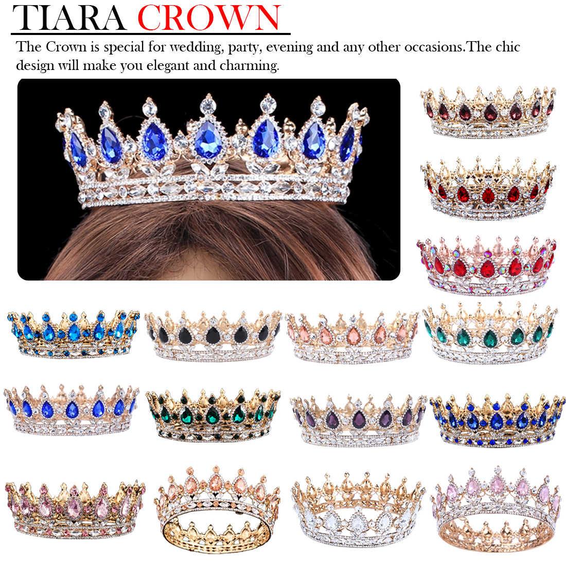 Vintage Baroque reine roi mariée diadème couronne pour les femmes coiffure bal mariée mariage diadèmes et couronnes cheveux bijoux accessoires