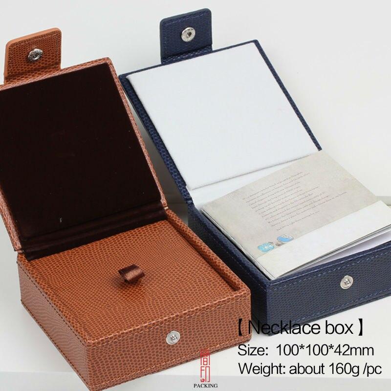 2019 New Design superior quality blue and Orange color crocodile grain PU Necklace Box Gift case