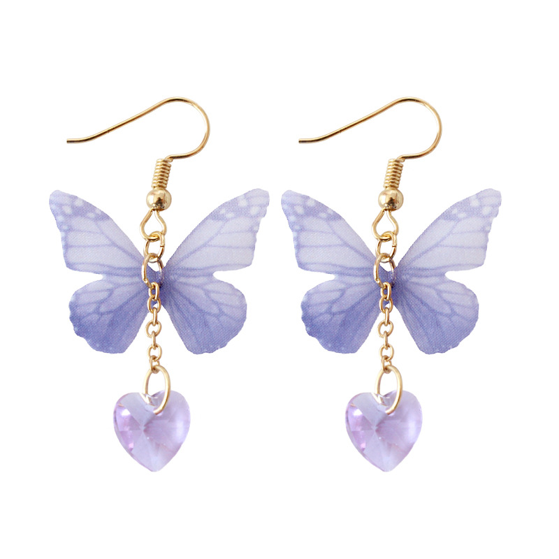Handmade Royal Purple Ethereal Butterfly with Crystal Heart Drop Earrings Fashion Earrings For Women Femme Girls Wedding Party